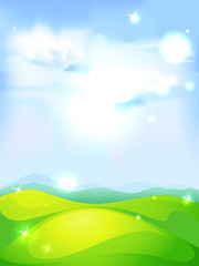 vector natural background with blue sky green meadow