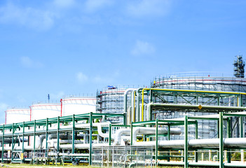 Oil industrial storage tank on heavy industry