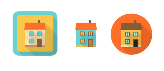 three retro icons with house