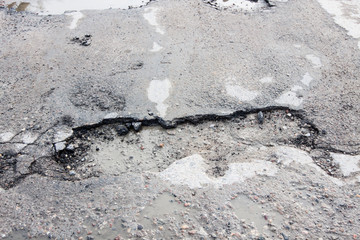 of holes road for cars - a danger on the road
