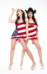 Funny Women in Hats and Heels Covering in USA Flag
