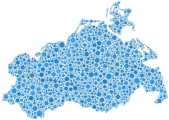 Decorative map of Mecklenburg in a mosaic of blue bubbles