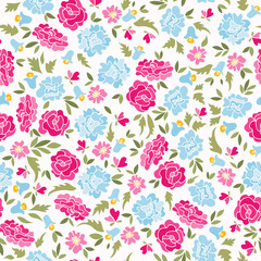 Pattern With Roses And Bluebells
