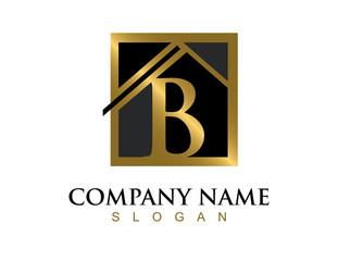 Gold letter B house logo