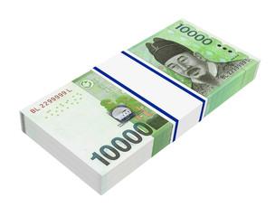 Korean won money isolated on white background.