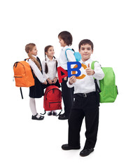 Back to school concept with a group of kids