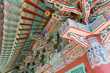 Colorful art on a korean temple