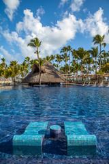 Tropical resort swimming pool in Punta Cana, Dominican Republic