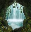 Leinwanddruck Bild - The cave and the waterfall
