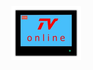 Modern LCD screen with sign TV ONLINE