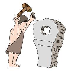Caveman Inventing Wheel