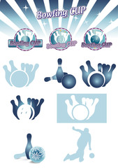Set of bowling icon, isolated on white, vector ilustration