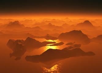 Sunset over a mountain lake.