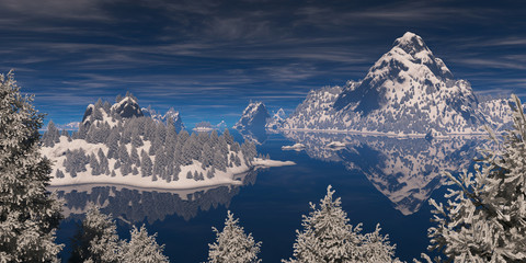 Trees in hoarfrost on a background of mountains and water surfac