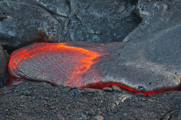 flow of red hot lava in the dark, Big Island, Hawaii