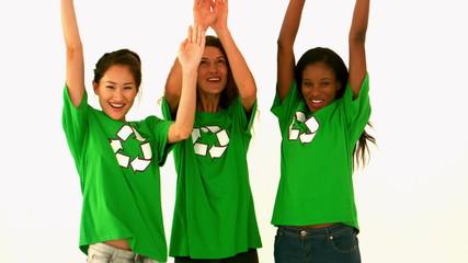 Happy environmental activist cheering