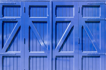 Ancient blue wooden door  background at house