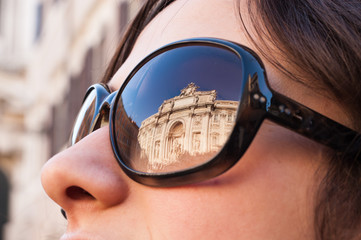 Trevi's fountain reflected on sunglasses