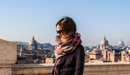 Portrait of a model wearing wearing sunglasses in Rome