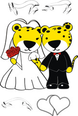 leopar wedding cute cartoon set