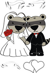 raccoon wedding cartoon set vector