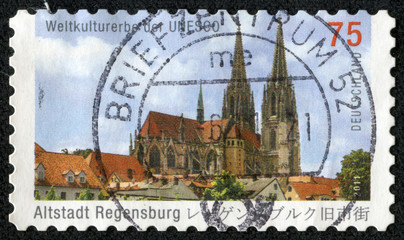stamp shows image of the Regensburg historically also Ratisbon