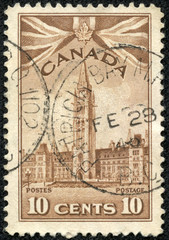 stamp shows Peace Tower Ottawa, Parliament Buildings Ottava