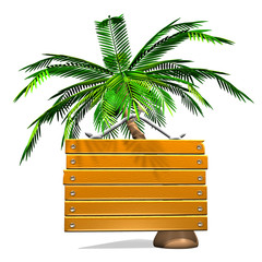 Front View Of Wooden Message Board With Palm Tree