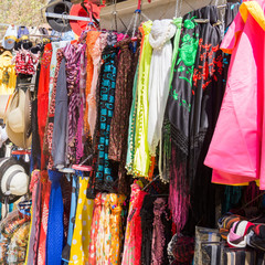 Market stall with scarvesand hats