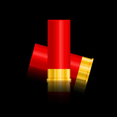 shotgun shells vector illustration isolated on black background.