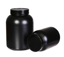 Sport Nutrition, Whey Protein and Gainer in Black Plastic Jars