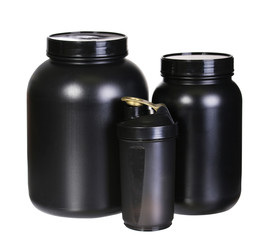 Sport Nutrition Set, Whey Protein and Gainer. Black Plastic Jars
