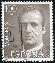 stamp shows King Juan Carlos I, King of Spain