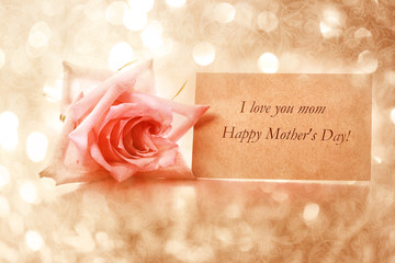 Mothers day message card with rose