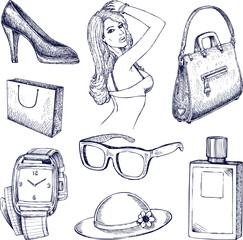 Hand drawn vector fashion elements