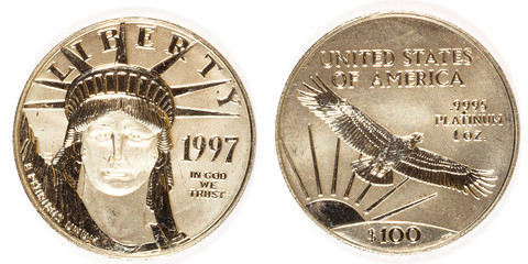 Front and Back Platinum Hundred Dollar Coin