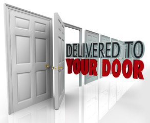 Delivered to Your Door 3D Words Special Courier Expedited Servic