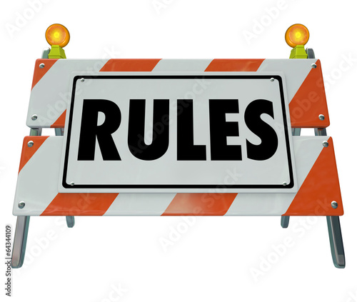 Постер, плакат: Rules Sign Barricade Guielines Laws Compliance, холст на подрамнике