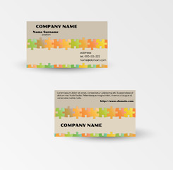 modern puzzle business card vector template