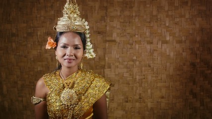 female dancer showing traditional cambodian dance, khmer art