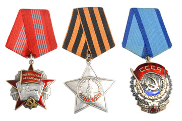 Soviet orders and awards on white