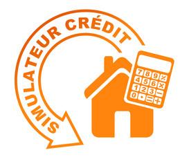 simulateur crédit immobilier sur symbole orange