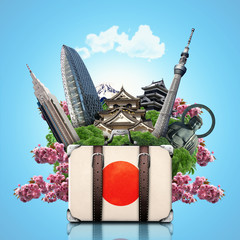 Japan, japan landmarks, travel and retro suitcase