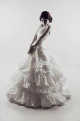 Beautiful sensual bride woman with Wedding dress. Fashion photo.