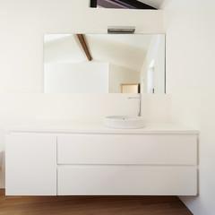 beautiful modern loft, white bathroom, sink