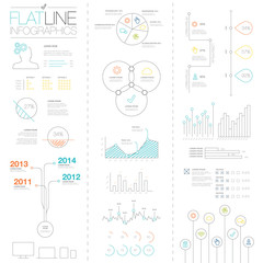 Flat and easy colorful outline vector infographic elements