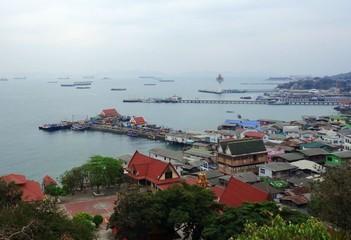 View of slum on an island