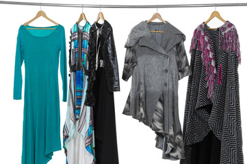 Variety of colorful fashion clothing on hanging