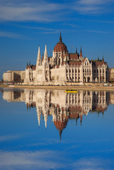 Famous Parliament with river in Budapest, Hungary