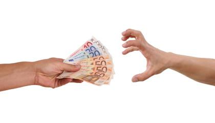 gierige Hand greift nach Geld